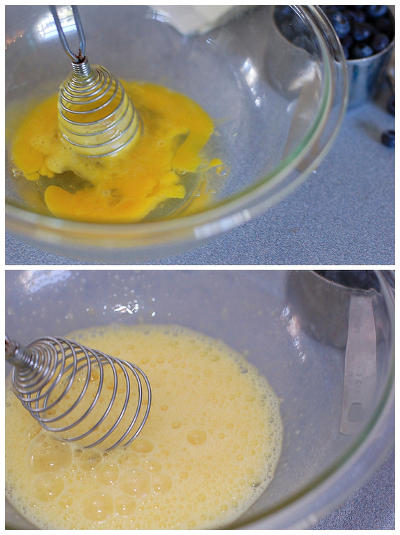 Collage of eggs being beaten in a clear pyrex bowl